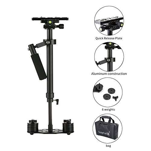 Sutefoto Portable S-60 Max Hight 0.6 Meter Handheld Stabilizer Pro Version for Camera Video DV DSLR - Weight Bearing Capability 0.2-3.5 Kilogram (7 Pound)