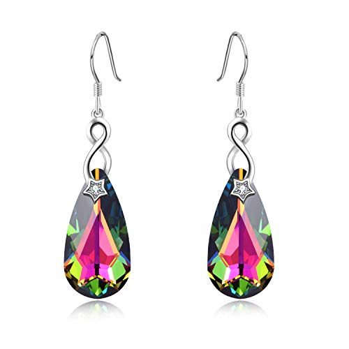 Sterling Silver Teardrop Dangle Drop Earrings with Swarovski Crystals Fine Jewelry Gift for Women Girls