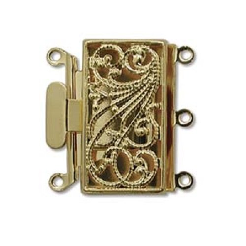 Three Strand Gold Tone Filigree Push Pull Box Clasp - Multi-Strand Clasp - 3 (Filigree Clasp Bracelet)