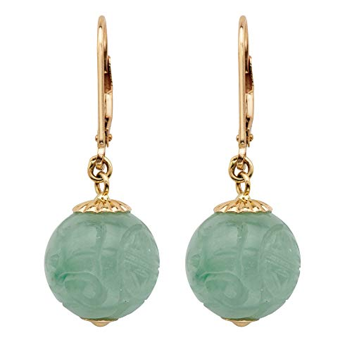 - 10K Yellow Gold Drop Earrings (12x12mm) Round Genuine Green Jade