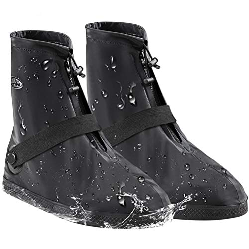 AMZQJD Waterproof Rain Shoes Boots Covers for Women Men (Black, L (Women 6.5-7.5,Men 4.5-5.5))