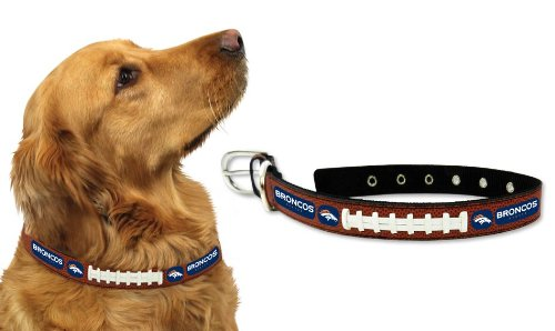 Broncos Dog Tag (Denver Broncos Leather Football Lace Dog Collar - Medium Size)