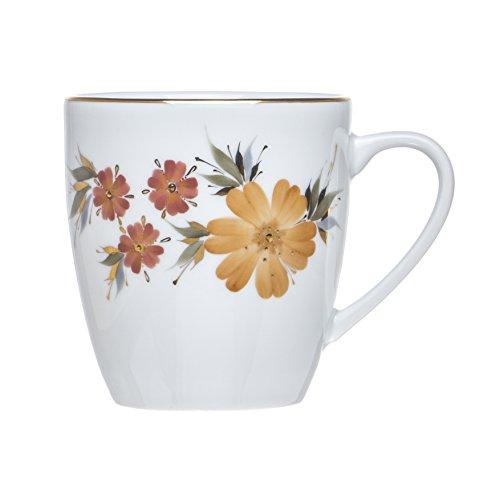 DAWN 6-Piece TEA/COFFEE Mugs, White Porcelain, Gold Decorated,