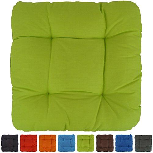 Sitzkissen Stuhlkissen Dekokissen - Capri - sehr bequem - unifarben - 40x40x8cm - hellgrün