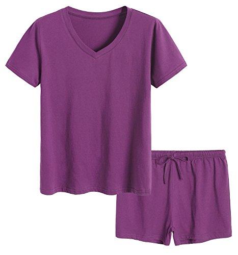 Latuza Women's Cotton Pajamas Set Short Sleeves Top & Shorts L Eggplant - Drawstring Lightweight Shorts