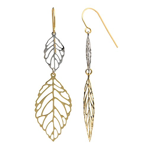 10k Two-Tone Gold High Polish Big And Small Leaves Drop Earrings (Small Gold High Polish)