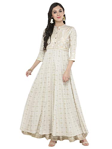 (Indian Women Designer Kurta Kurti Bollywood Tunic Ethnic Top Kurtis Dress Tops (M) Off-White)