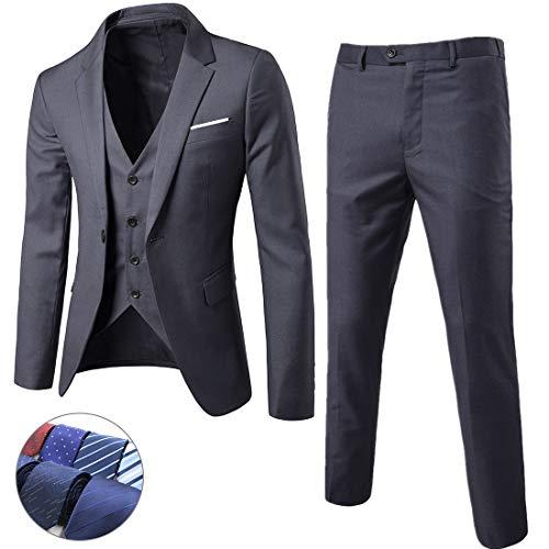 MY'S Men's 3 Piece Suit Blazer Slim Fit One Button Notch Lapel Dress Business Wedding Party Jacket Vest Pants & Tie Set Dark Grey