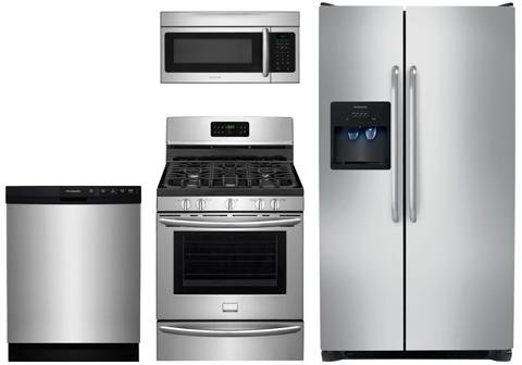 """Frigidaire 4 Piece Package, FGGF3045RF 30"""" Gas Freestanding Range, FFSS2614QS 36"""" Side by Side Refrigerator, FFMV164LS Over the Range Microwave, FFBD2412SS 24"""" Built in Dishwasher in Stainless Steel"""