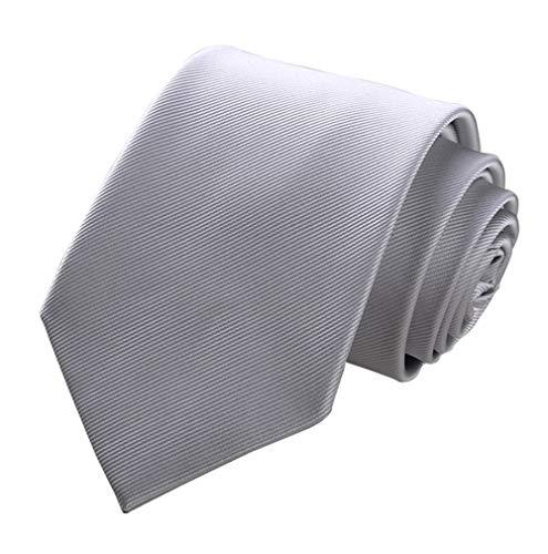Men's Solid Color Grey Ties Silver Silk Tie Formal Party Suit Necktie
