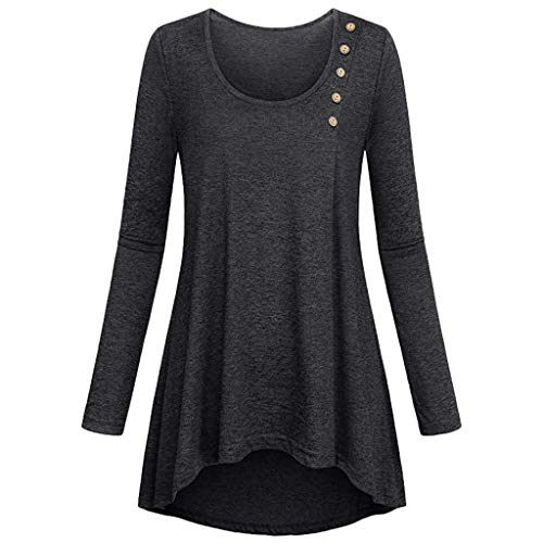 Lelili Women Solid Color Pullover Round Neck Buttons Long Sleeve Tops Comfy Casual Loose Hem T-Shirt ()