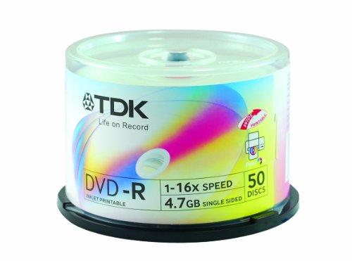 TDK DVD-R 1-16X Speed Inkjet Printable 4.7 GB Single Sided 50 Discs