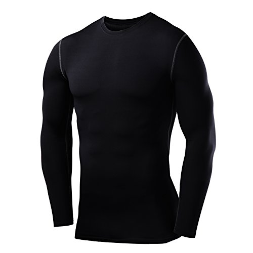 PowerLayer Herren Kind Funktionsunterwäsche Kompressionsshirt Armour Compression Top Skins Langarm - Crew Neck - Medium - Black