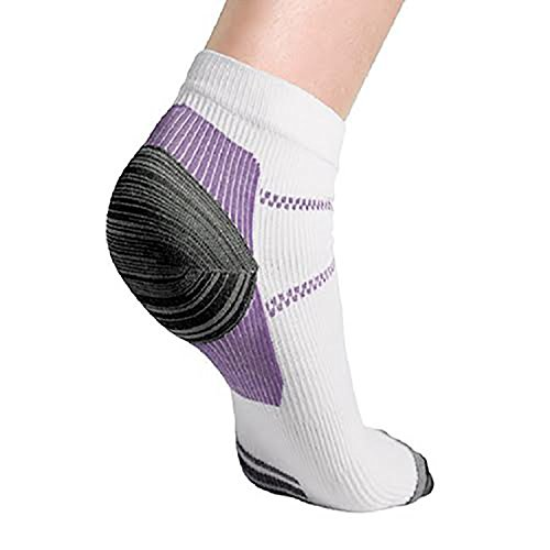 SportFlex 3 Pack High Gradual Compression Sport Socks With Padded Cushion And Arch, Heel, And Ankle Support 3 Pack Set (Purple) -