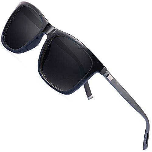 Wayfarer Sunglasses Mens Polarized Sunglasses - FEIDU Polarized Wayfarer Sunglasses UV400 Protective FD9003 (black/gun-9003, 63) by FEIDU