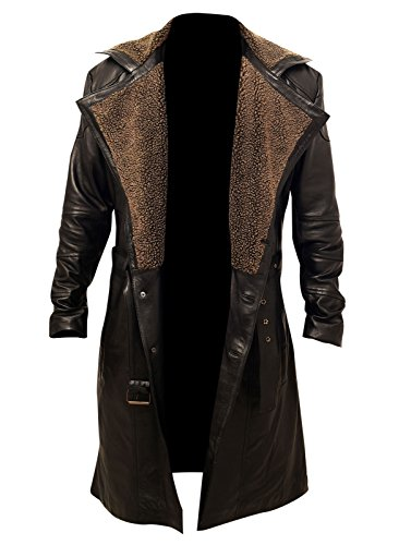 Collar Long Coat (Blade Runner 2049 Ryan Gosling Officer K Brown Fur Lapel Collar Black Trench Leather Coat)