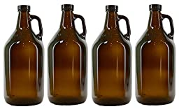 True Fabrications 1/2 Gallon Amber Beer Growler - Reusable - Has UV Protection, Set of 4