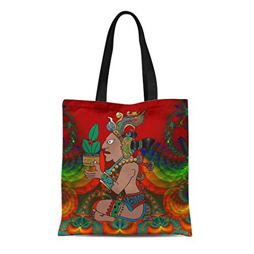 Semtomn Cotton Line Canvas Tote Bag Medicine Yucatan Psychedelic Mexicano Man Mexican Folk Shaman Ancient Reusable Handbag Shoulder Grocery Shopping Bags