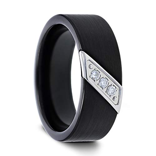 Liam Flat Black Satin Finished Tungsten Carbide Wedding Band with Diagonal Diamonds Set in Stainless Steel - 8 mm (9.5) by Thorsten Rings (Image #7)
