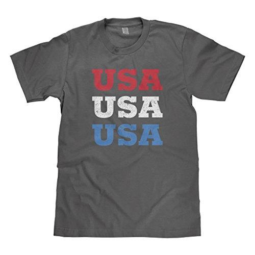 Mixtbrand Big Boys' USA USA USA Fourth Of July Youth T-Shirt L Charcoal