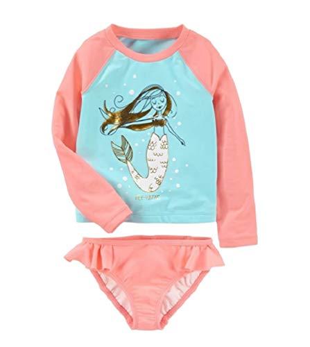 Infant Baby Girls Flamingo Rash Guard Sets Girl Polka Dot Swimwear Long Sleeve Swimsuit UPF 50+(Blue M) ()