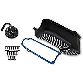 Weiand 6002FWND Aluminum Oil Pan Kit 4 Quart Finned Aluminum Incl Oil Pan//Gasket//Pump Pickup//Hardware Black Finish Aluminum Oil Pan Kit