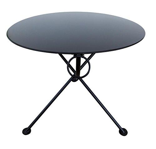 Mobel Designhaus French Café Bistro Leg Folding Bistro Table Jet - Round metal cafe table