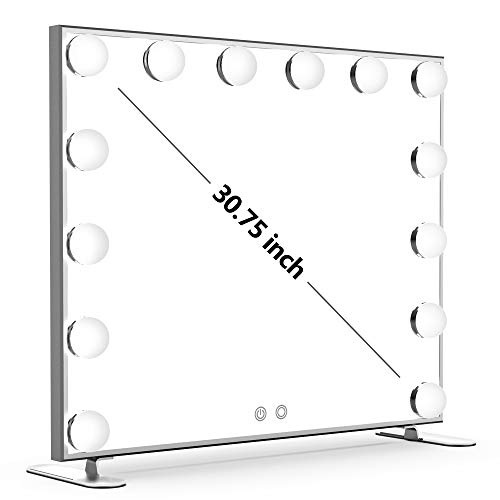 - Nitin Lighted Vanity Mirror with Touch Control Design, Hollywood Style Makeup Mirrors with Lights, Tabletop or Wall Mounted Vanity Mirrors (Silver)