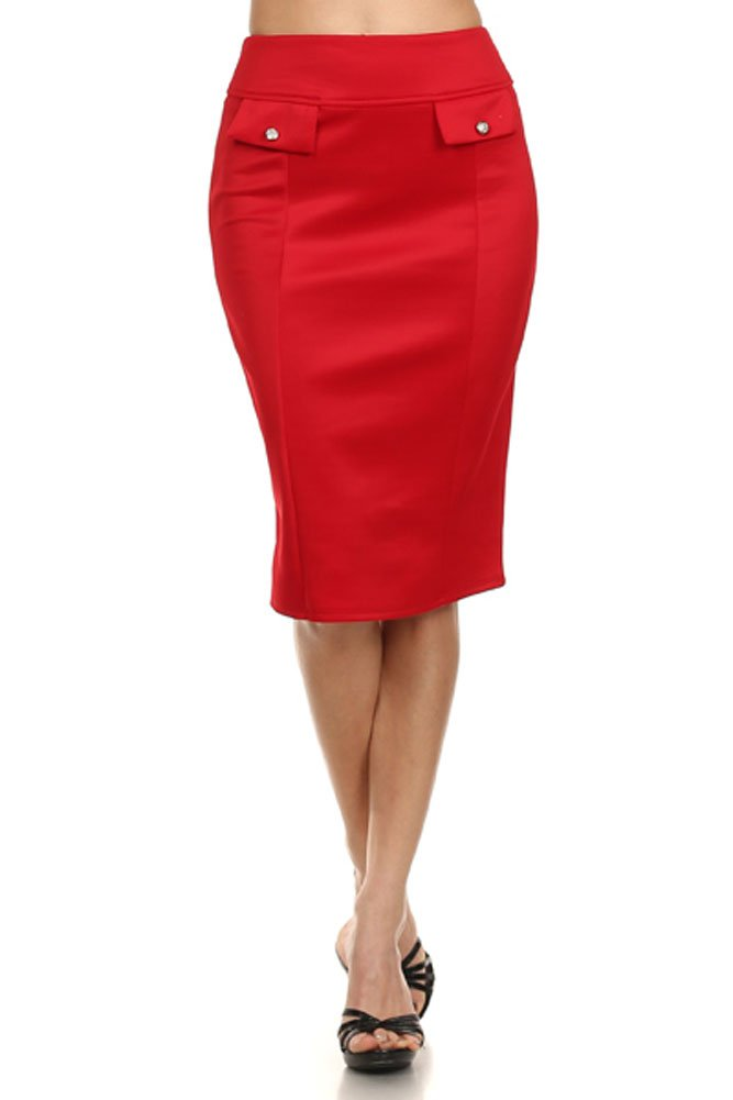 (Plus Size) Women's Solid Color High Waist Knee Length Pencil Skirt (MADE IN U.S.A)
