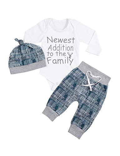 Newborn Baby Boy Clothes Newest Addition to The Family Letter Print Romper Long Pants Hat 3PCS Outfits Set (E-Blue, 0-3 Months)
