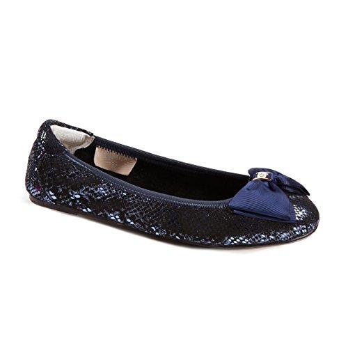 Cocorose Faltbare Schuhe - Buckingham Damen Ballerinas Leder Metallisch Blau