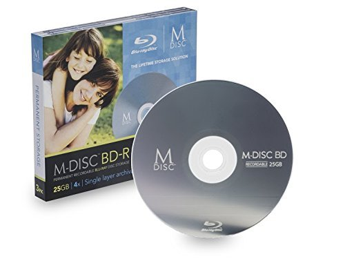M-Disc 25GB Blu-ray Media - 3 Disc package in jewel cases