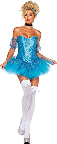 Leg Avenue Women's 5 Piece Cinderella Costume, Aqua, Small (Costume Princess Womens Sexy)