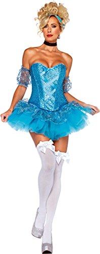 Leg Avenue Women's 5 Piece Cinderella Costume, Aqua, Small (Princess Womens Costume Sexy)