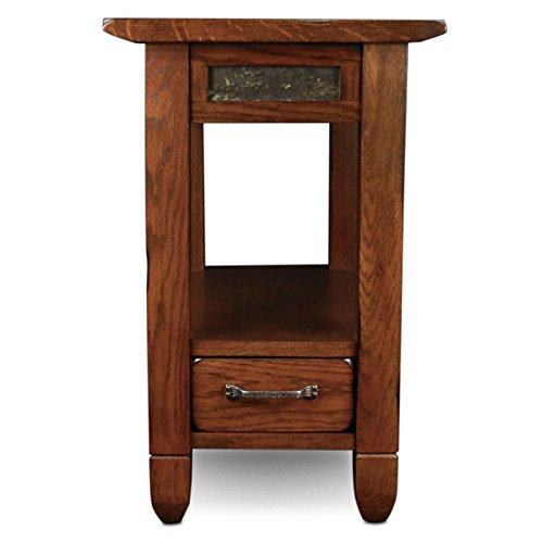 Rustic Oak Chairside Table Table Oak Antique Round English Leaf Carved Solid Sawn Mission Desk Parlor Svitlife