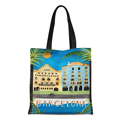 Semtomn Cotton Line Canvas Tote Bag Home Travel Barcelona Spain Nouveau Catalonia Reusable Handbag Shoulder Grocery Shopping Bags (Barcelona Handbag)
