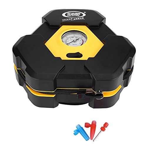 Acouto 12V Eletric Air Compressor Pump Clearly Needle Indicator Bottom Anti-Slip Pad, Shockproof Tire Inflator For Cars Balls Bikes