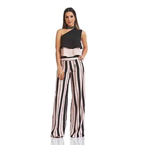 Calça Acostamento Feminino Fashion Stripes Manhattanville Maxi Estampado