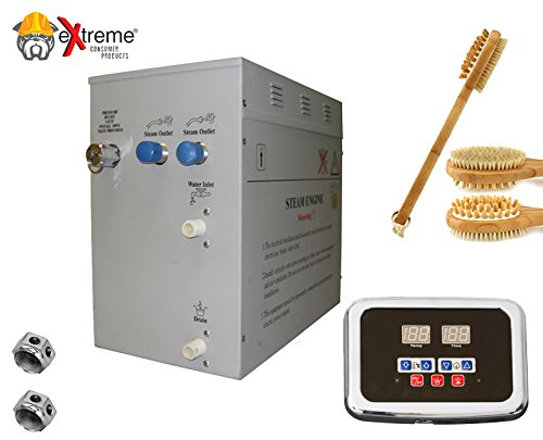 Steam Bath - Sauna Bath Steam Generator (Self Draining) with Programmable Control Panel & Chrome Steam Outlet for Your Home Steam Bath - 12KW - w/ 2-Sided Bath Brush - Products Keypads Programmable