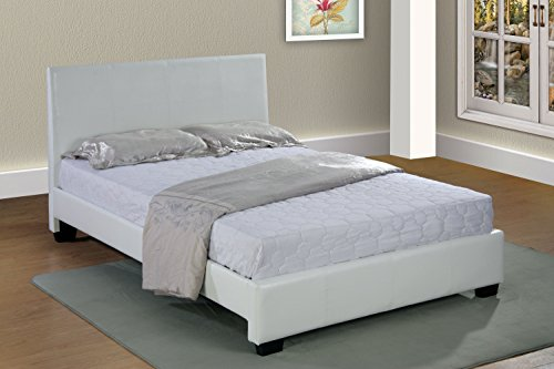 White Home Life Leather Platform Bed with Slats Queen - Complete Bed 5 Year Warranty - Bed Complete Leather Queen