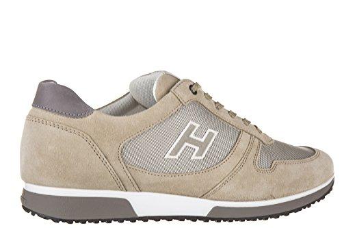 Hogan chaussures baskets sneakers homme en daim h198 slash h flock beige
