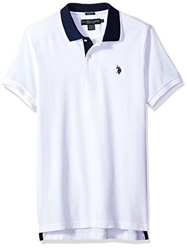 U.S. Polo Assn. Men's Short Sleeve Slim Fit Solid Pique Polo Shirt, White KJBH, L