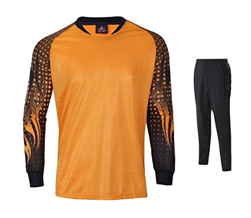 1 Set Goalkeeper Jersey & Shorts Padded elbows & short Orange A Medium
