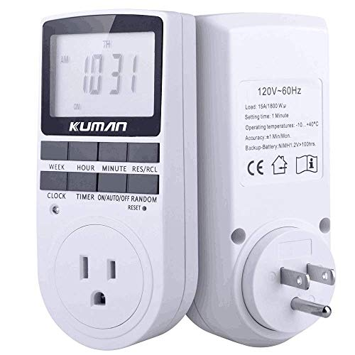 Kuman 15A/1800W 24-Hour Digital Timer Socket, 7-Day Digital Programmable  Timer Switch with 3-Prong Outlet for Lights and Appliances with LCD Display