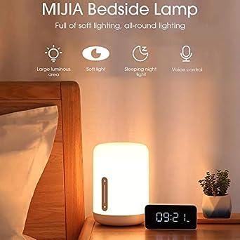Mijia lamparas de mesa regulable, Control de voz inteligente Interruptor inteligente de luz táctil con ajuste de color, LED Beside Lamp Lámpara de Cabecera niños,Wifi & Bluetooth Control