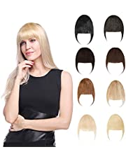 Clip in Air/Neat Bangs Front Fringe Bangs Clip on 100% Remy Human Hair Extensions Fashion Thin Air Bangs Topper Wispy Fringe One Piece Hairpiece Hand Tied Natural Straight Neat Bang Soft and Smooth with Temple for Women