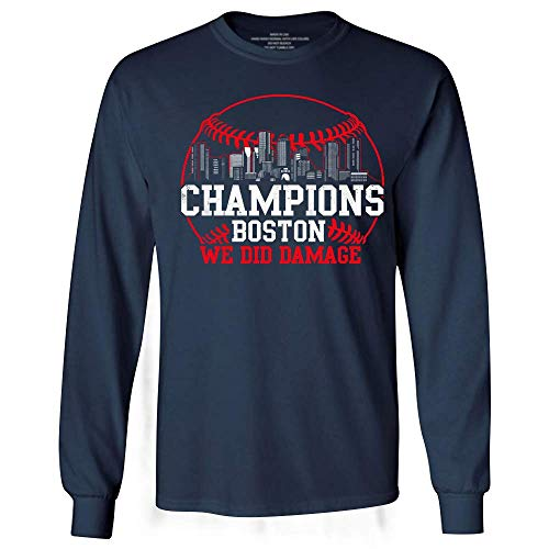 (Champions Boston 2018 World Baseball We Did Damage Long Sleeve Tshirt)