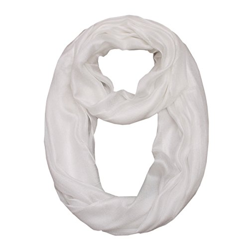 White Women Lightweight Infinity Scarf – Fashion Plain Solid Thin Lightweight Soft Scarfs For Spring Summer(HLYM1-10)