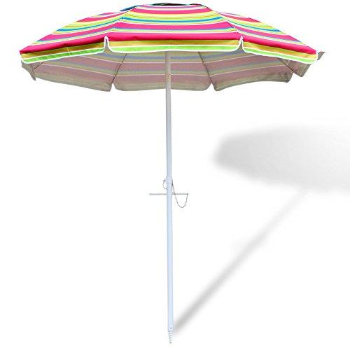 Tilting Beach Umbrella Sun Shade for Fishing Swimming Garden, with Silver Coating Inside UV Protection-Aluminum Pole & Fiberglass Ribs, Rainbow Color (Shade Pool Table)