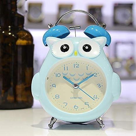 HosDevice Cartoon Owl Child Bell Timbre Despertador Estudiante Kid Regalo de a/ño Nuevo Nightside Mute Alarm Clock con luz Suave de la Noche Grey